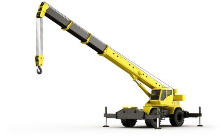 mobile crane: 3d rendering of a highly realistic mobile crane.