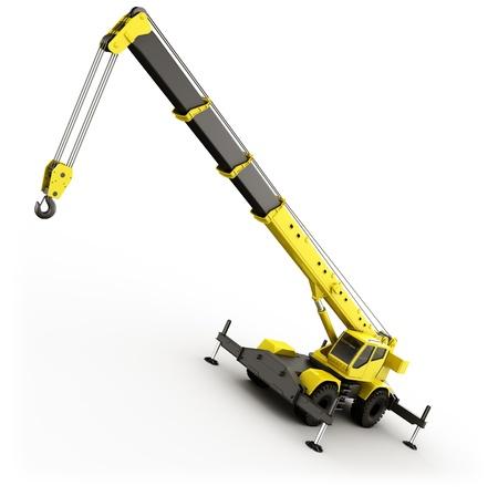 maquinaria pesada: representaci�n 3D de una gr�a m�vil altamente realista.