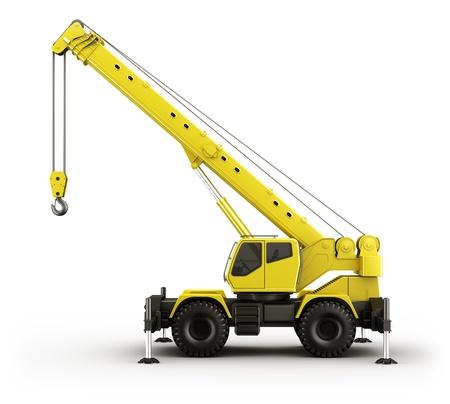 camion grua: Representación 3D de una grúa de gran realismo visto desde el lado.