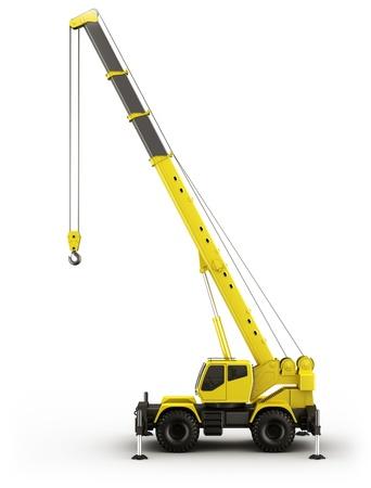 camion grua: representación 3D de una grúa altamente realista vista desde el lado.