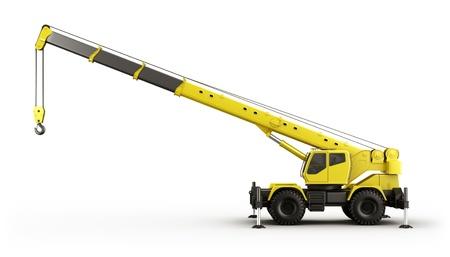 camion grua: Representaci�n 3D de una gr�a de gran realismo visto desde el lado.