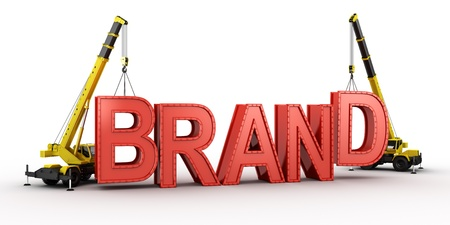 3d rendering of a mobile crane lifting the last letters in place to spell the word BRAND, to illustrate the concept of building a brand.