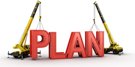 3d rendering of a mobile crane lifting the last letters in place to spell the word PLAN, to illustrate the concept of building or having a (business) plan. 写真素材