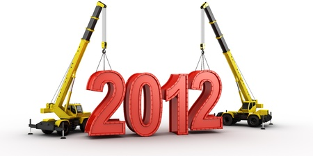 3d rendering of a mobile crane lifting the last letters in place to spell the word 2012 photo