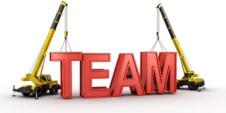 3d rendering of a mobile crane lifting the last letters in place to spell the word TEAM, to illustrate the concept of building a team.