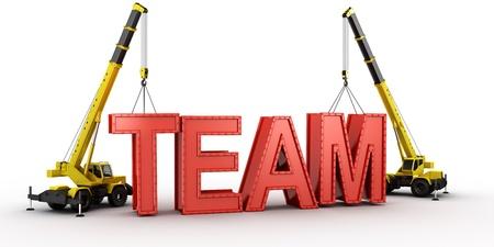 camion grua: representación 3D de una grúa móvil levantar las últimas cartas que deletrear la palabra equipo, para ilustrar el concepto de la creación de un equipo. Foto de archivo