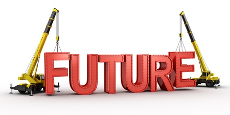 3d rendering of a mobile crane lifting the last letters in place to spell the word FUTURE, to illustrate the concept of building a future.