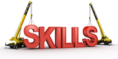 skill: 3d rendering of a mobile crane lifting the last letters in place to spell the word SKILLS, to illustrate the concept of building skills. Stock Photo