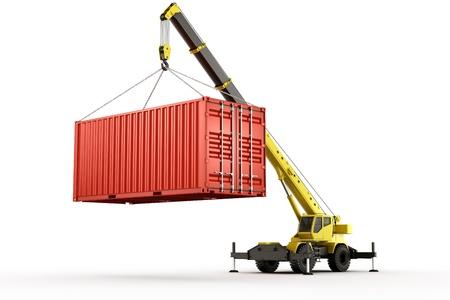 camion grua: representación 3D de un contenedor de envío