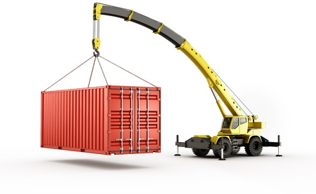 mobile crane: 3d rendering of a shipping container being carried by a mobile crane.. barely