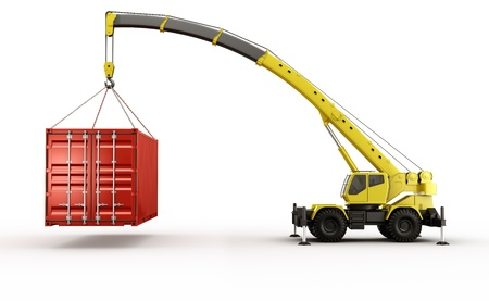 heavy lifting: 3d rendering of a shipping container being carried by a mobile crane.. barely