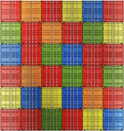 container freight: 3d rendering of colorful shipping containers all facing with the front out