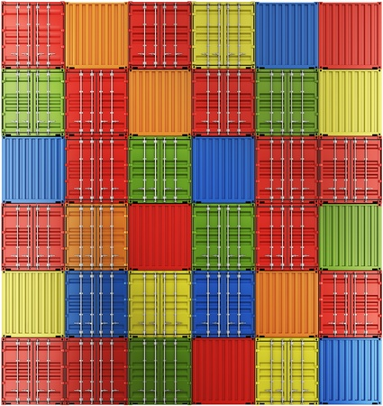 3d rendering of colorful shipping containers some with the front facing the camera and some with the back. photo