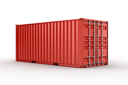 container: 3d rendering of a shipping container