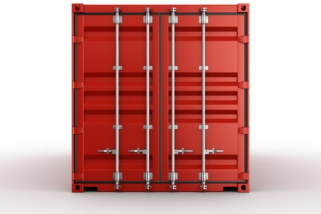 3d rendering of a shipping container seen straight on photo