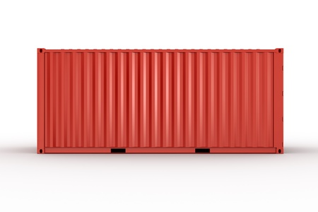 shipping container: 3d rendering of a shipping container seen straight from the side Stock Photo