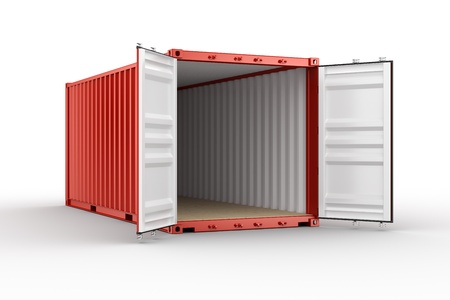 3d rendering of an open shipping container photo