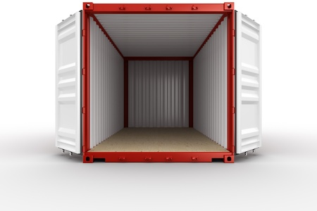 cargo container: 3d rendering of an open shipping container