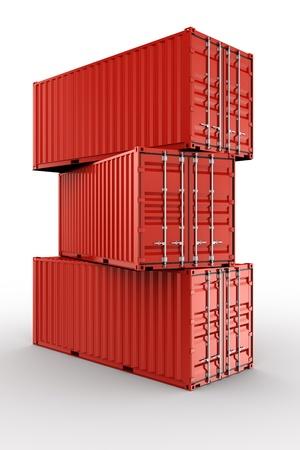 export and import: Representaci�n 3D de tres contenedores apilados de env�o Foto de archivo