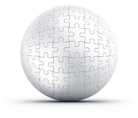 白い床に球形のパズルの 3 d レンダリング