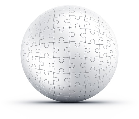 puzzle: 3d rendering of a spherical puzzle on a white floor