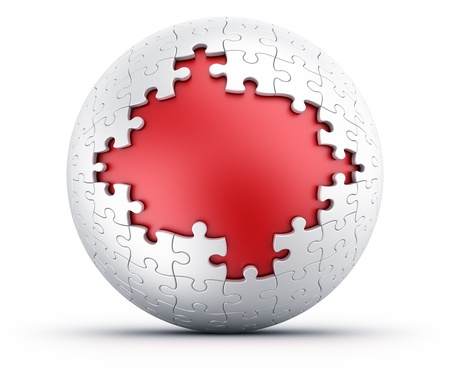 3d rendering of a spherical puzzle with pieces missing photo