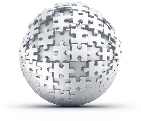 ビルドされている球形のパズルの 3 d レンダリング