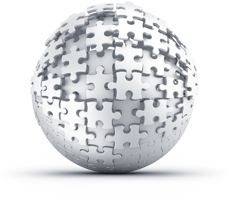 3d rendering of a spherical puzzle being build Stock Photo - 11503864