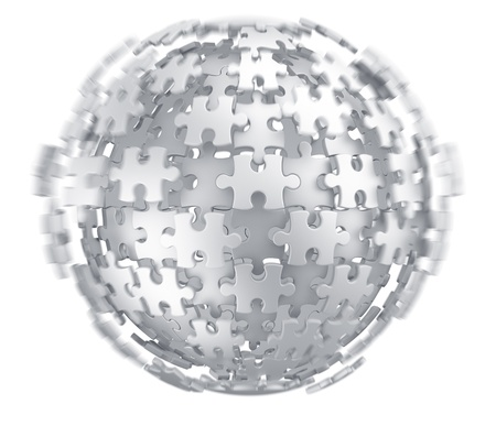 puzzle globe: 3d rendering of a spherical puzzle being build
