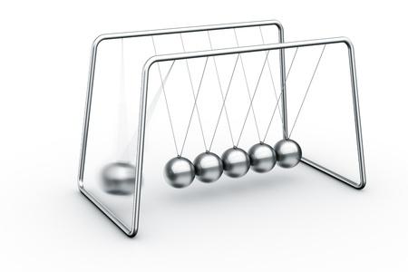 影響を与える 1 つのボールとニュートンのゆりかごの 3 d レンダリング