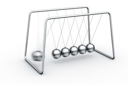 3d rendering of a Newtons cradle with one ball about to impact photo
