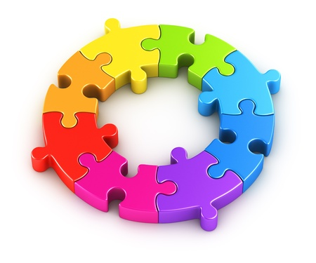 3d rendering of a circular puzzle in the colors of a rainbow photo