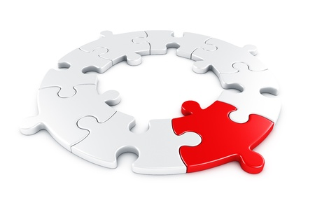 cgi: 3d rendering of a circular puzzle with one piece in red