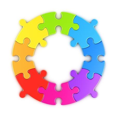 piezas de rompecabezas: 3d prestación de un rompecabezas circular en los colores del arco iris