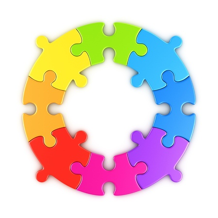 3d rendering of a circular puzzle in the colors of a rainbow
