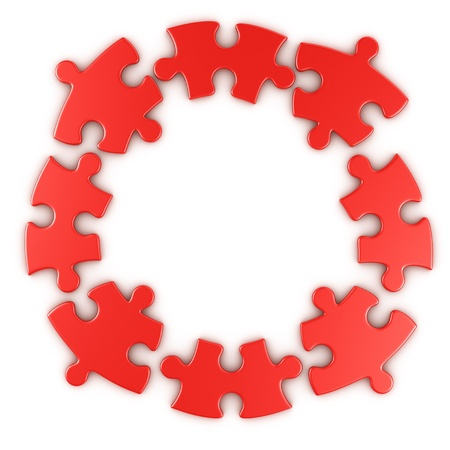 disconnected: 3d rendering of a circular puzzle disconnected Stock Photo