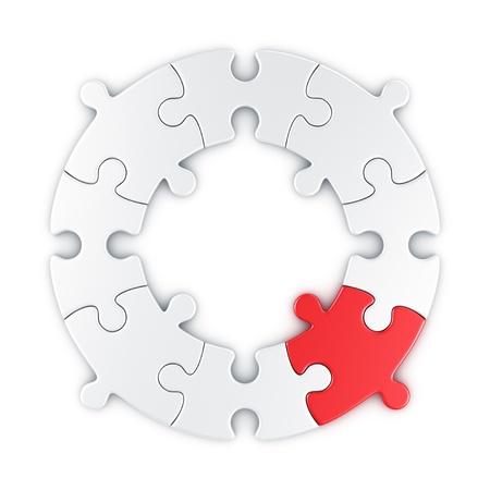 赤のワンピースで円形パズルの 3 d レンダリング