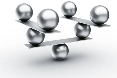 3d rendering of balls balancing