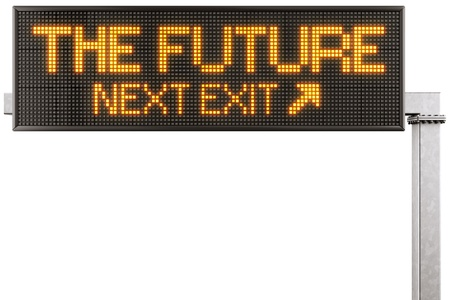 3d rendering of a modern digital highway sign with THE FUTURE written on it photo