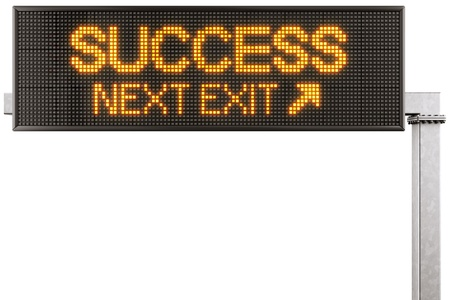 3d rendering of a modern digital highway sign with SUCCESS written on it photo