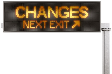 3d rendering of a modern digital highway sign with CHANGES written on it photo