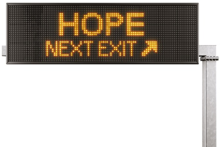 hope sign: 3d rendering of a modern digital highway sign with HOPE written on it