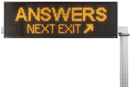 3d rendering of a modern digital highway sign with ANSWERS written on it photo