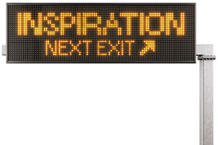 3d rendering of a modern digital highway sign with INSPIRATION written on it photo