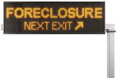 3d rendering of a modern digital highway sign with FORECLOSURE written on it photo