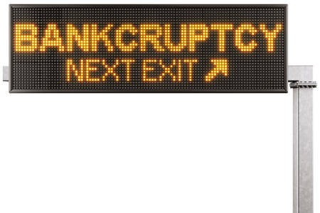 3d rendering of a modern digital highway sign with BANKCRUPTCY written on it photo