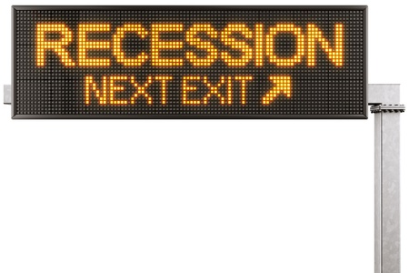3d rendering of a modern digital highway sign with RECESSION written on it photo