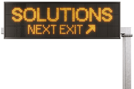 3d rendering of a modern digital highway sign with SOLUTIONS written on it photo