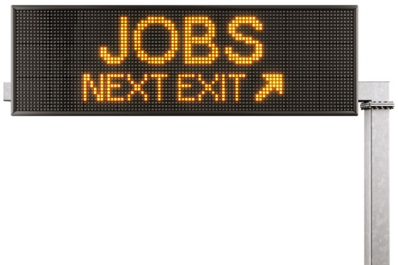 lcd: 3d rendering of a modern digital highway sign with JOBS written on it