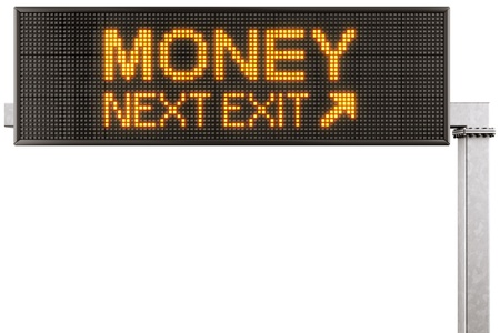 3d rendering of a modern digital highway sign with MONEY written on it photo